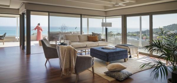 woman on luxury home showcase patio