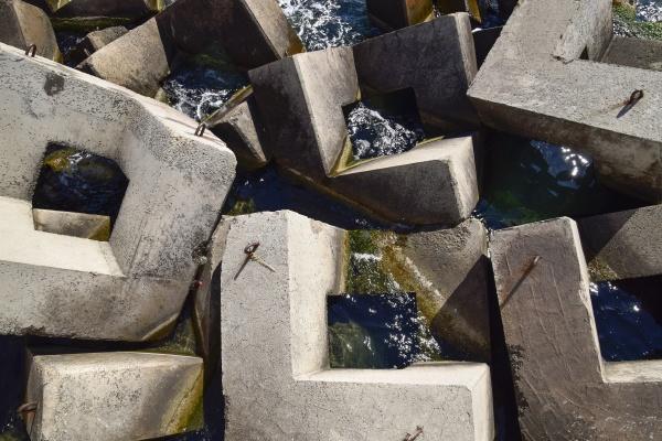 breakwater of the rectangular stone figures