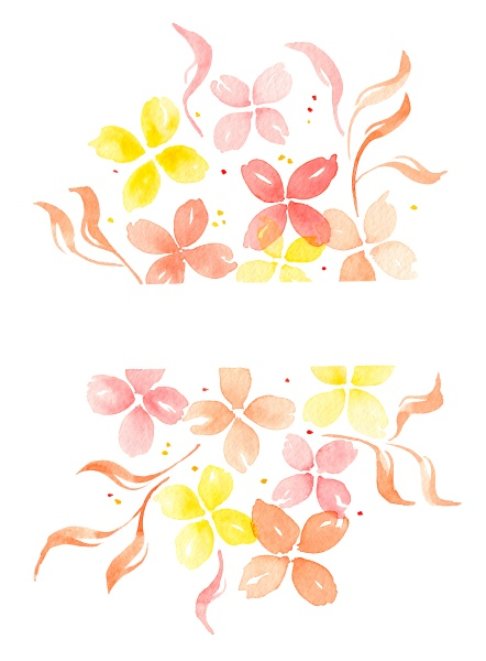 watercolor simple flowers and leaves