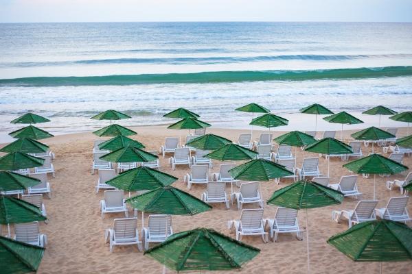 beautiful chic sea beach umbrellas