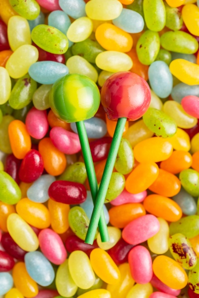 sweet fruity lollipops and jelly beans