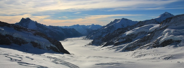 aletsch glacier and high mountains view