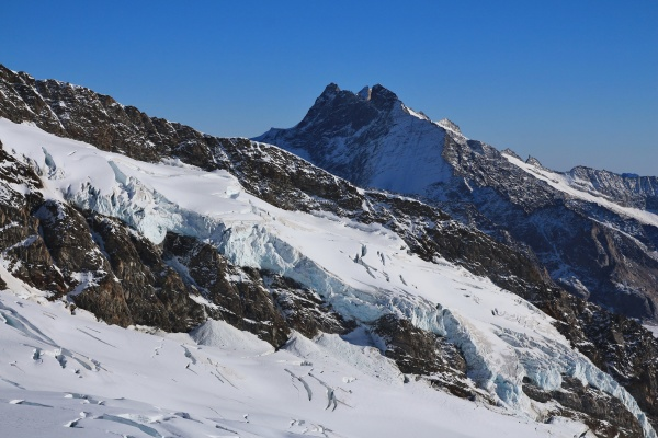 glacier and high mountain view from
