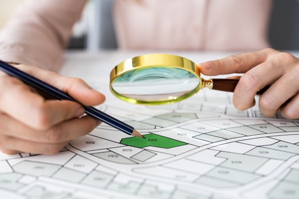 glass over land map planning