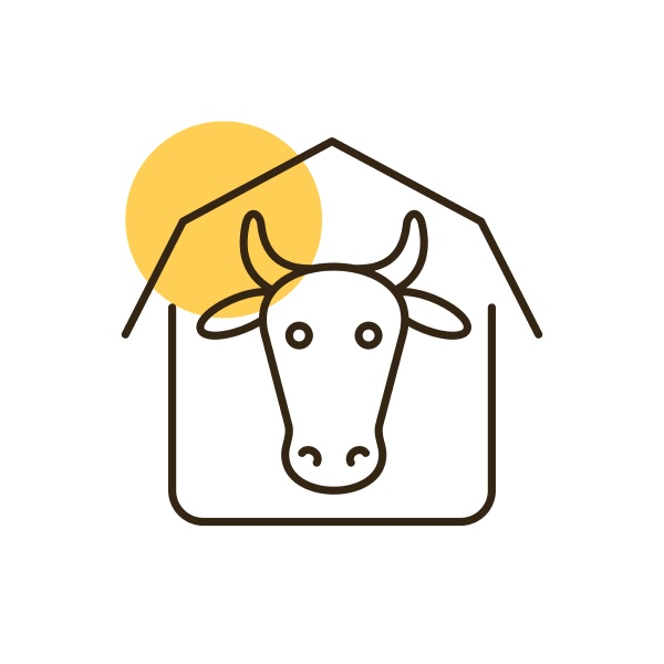 cowshed vector flat icon farm animal