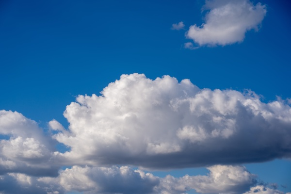 beautiful blue sky with fluffy white