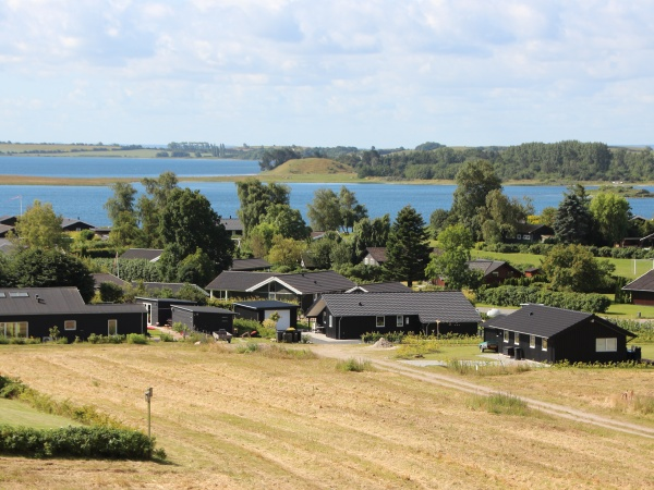 aeriel view over black summer houses