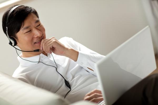 asians alone head mounted headphones transverse