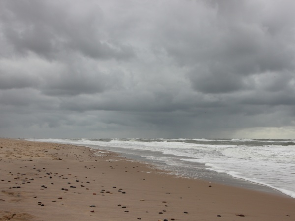 coast with white waves and cloudy