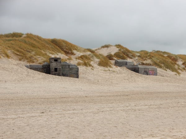 two german bunkers at coast of