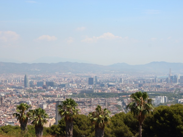 mountain panoramic view with sagrada familia