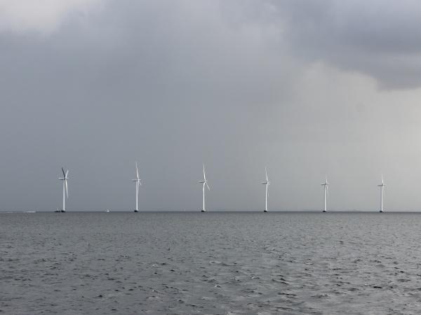 ocean sea windmill in line at