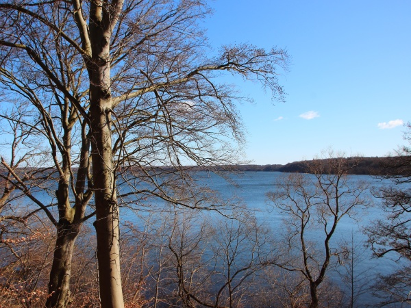 autumn view over blue lake with