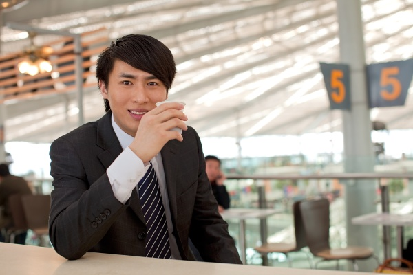sitting travel airport business staff waiting