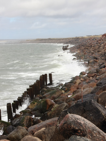 coastline with silent water and breakwater