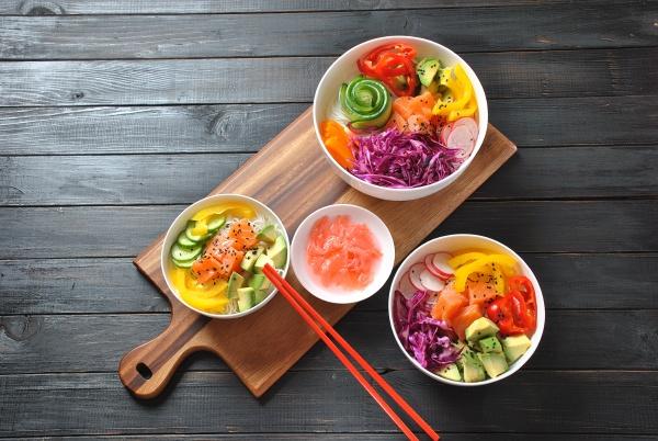 poke bowls with fresh salmon