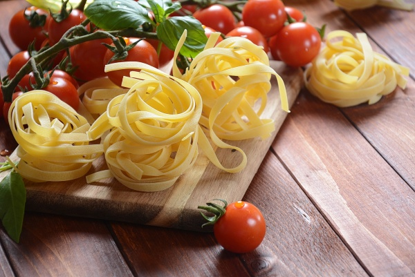 concept of italian food with raw