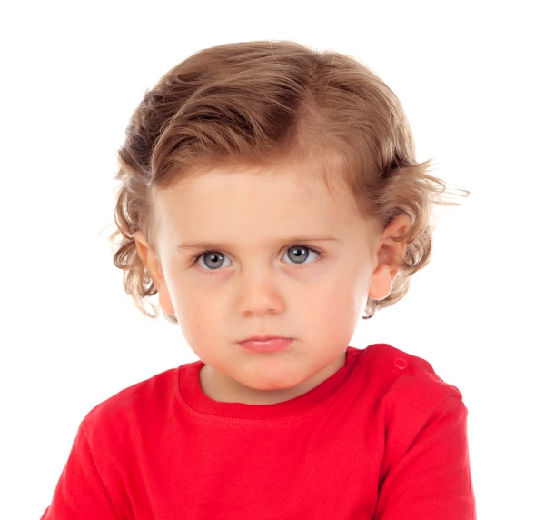 angry funny baby with red t