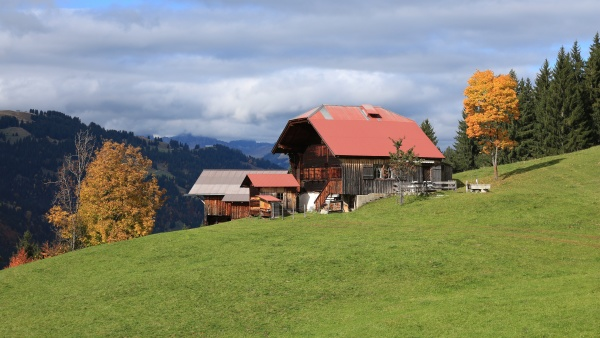 old timber chalet in the swiss