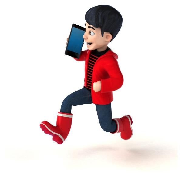 fun 3d cartoon teenage boy with
