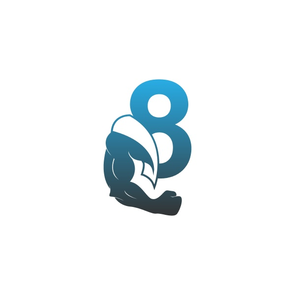 number 8 logo icon with muscle
