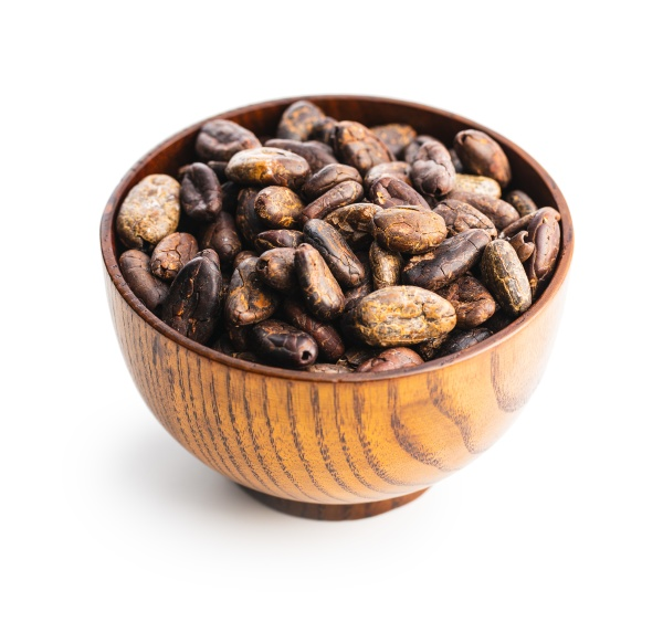 roasted cocoa beans in bowl