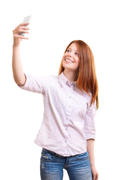 smiling young woman in smart casual