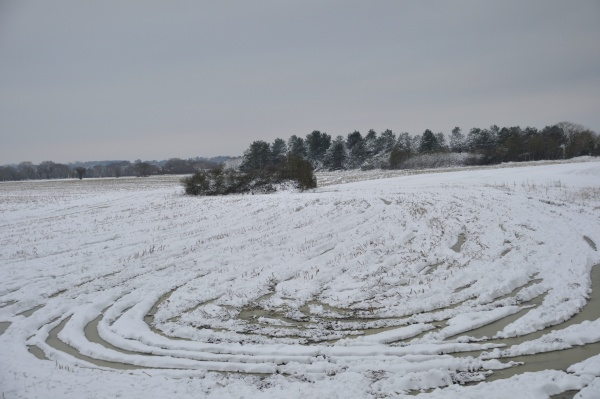 fields under the snow in brittany