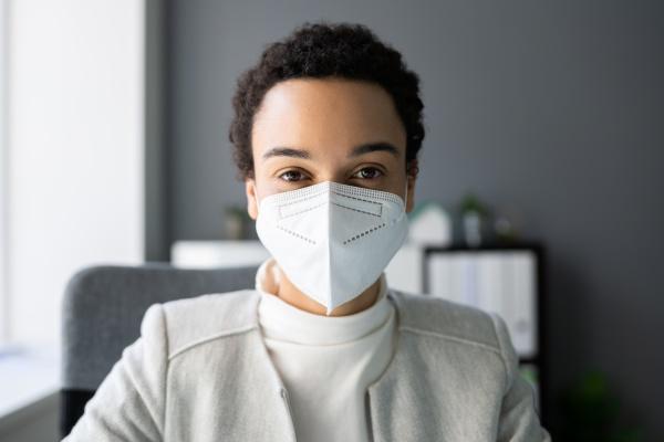 african american woman wearing medical mask