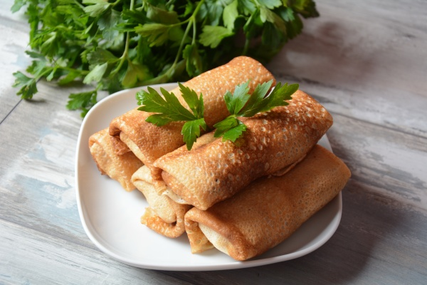 pancakes stuffed with meat herbs russian
