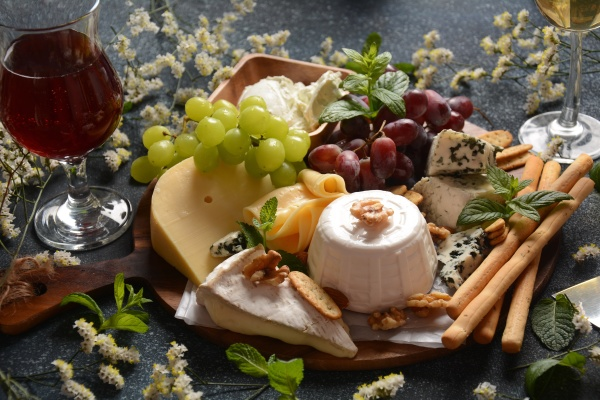 cheese platter with assorted cheeses