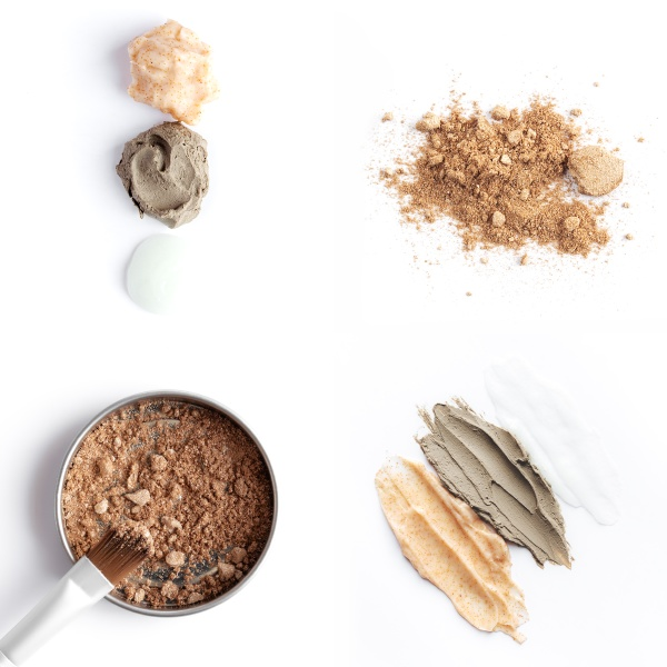 collage with cosmetics brown face or