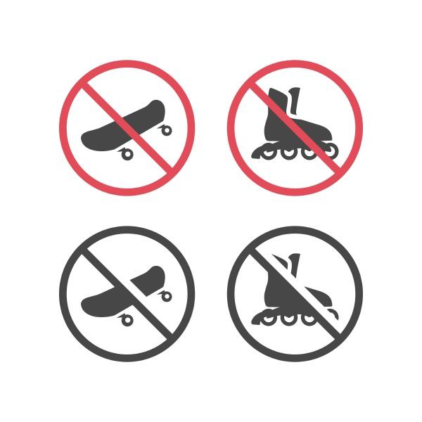no roller skates and skateboards