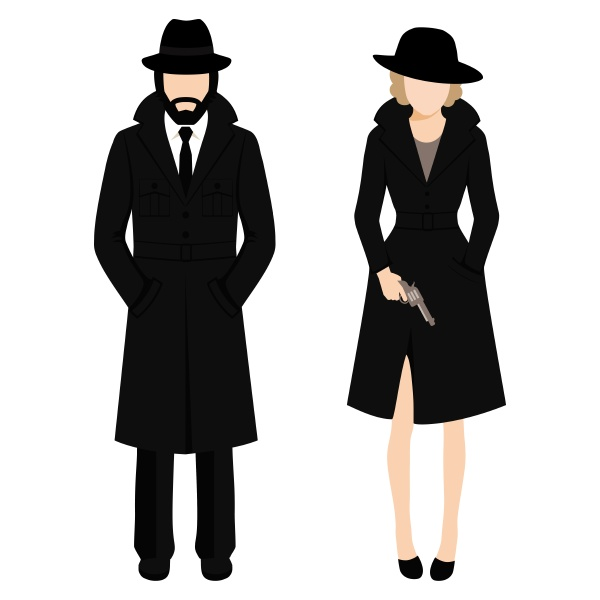 detective spy man and woman character
