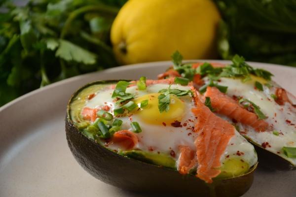 baked smoked salmon egg in avocado