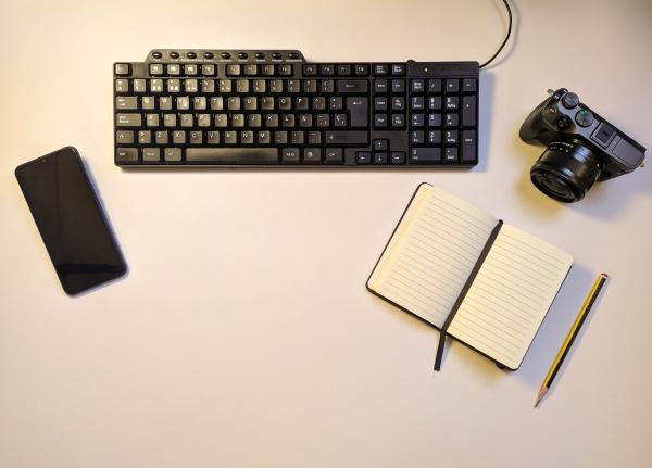 flat desktop in wood office at