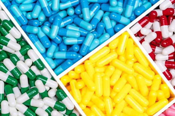 top view colorful antibiotic capsule pills