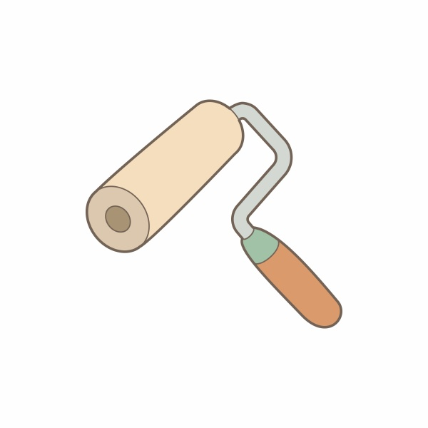 paint roller icon in cartoon style
