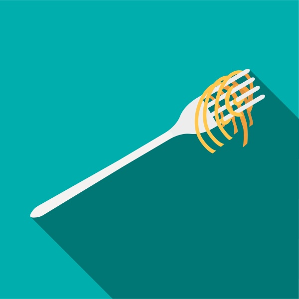 fork with spaghetti icon flat style