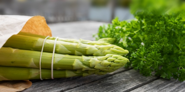 healthy green asparagus and parsley