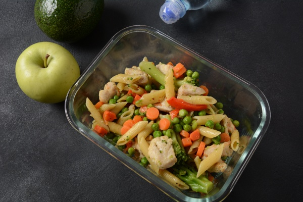 lunch box with pasta salad baked