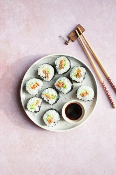 sushi with avocado smoked salmon and