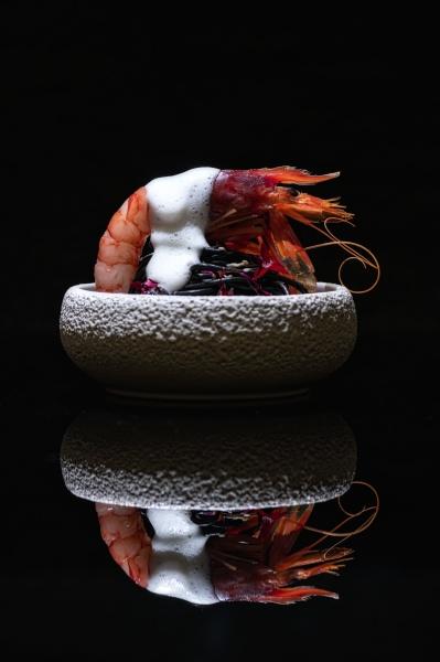 prawn and sea urchin in bowl