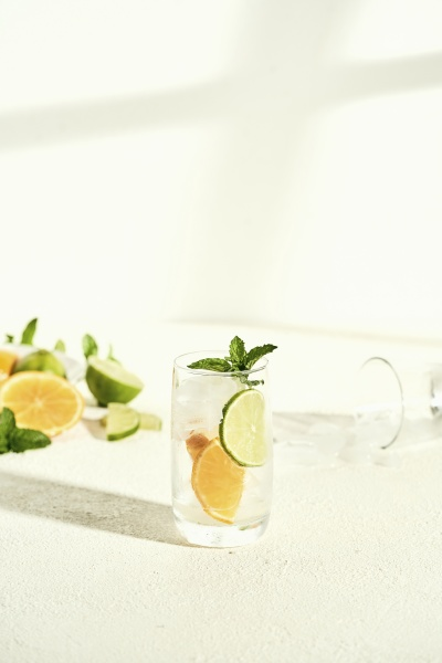glass, of, water, with, lime, , orange - 29876992