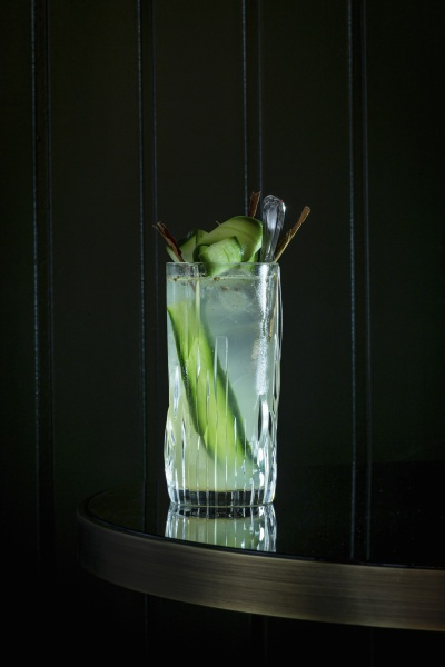 cocktail garnished with cucumber slices