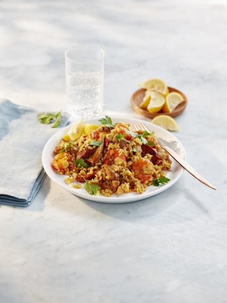 paella with chicken prawns and chorizo