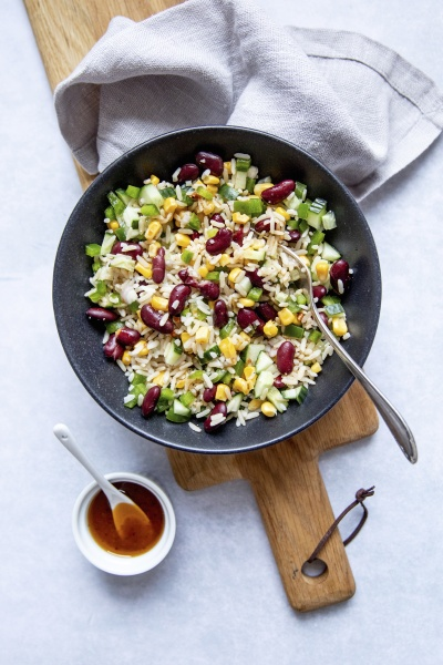 rice salad with corn and kidney