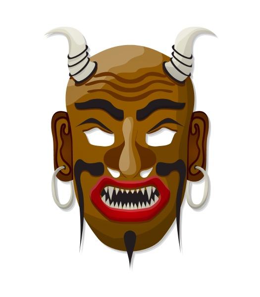 horned tribal mask