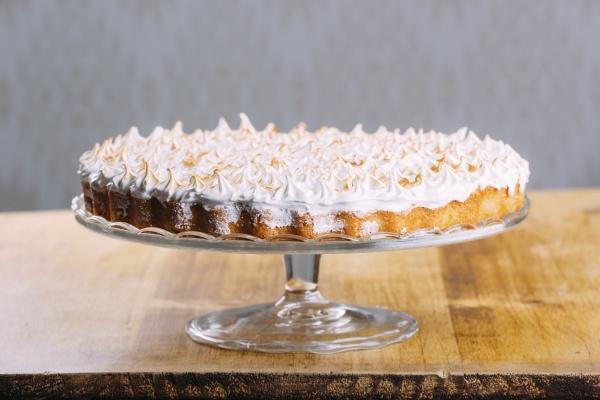 crispy tart topped with baked white