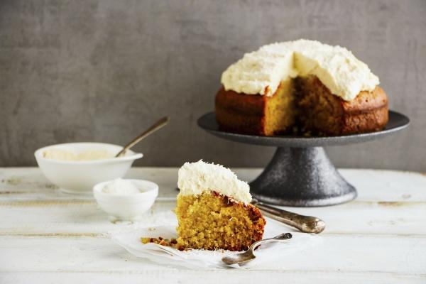 delicious coconut cake with mascarpone cream